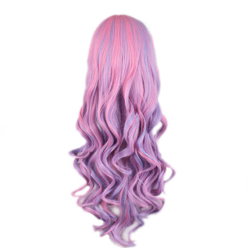WoodFestival-perruque synthétique ondulée longue et multicolore Lolita avec frange, résistante à la chaleur pour femmes