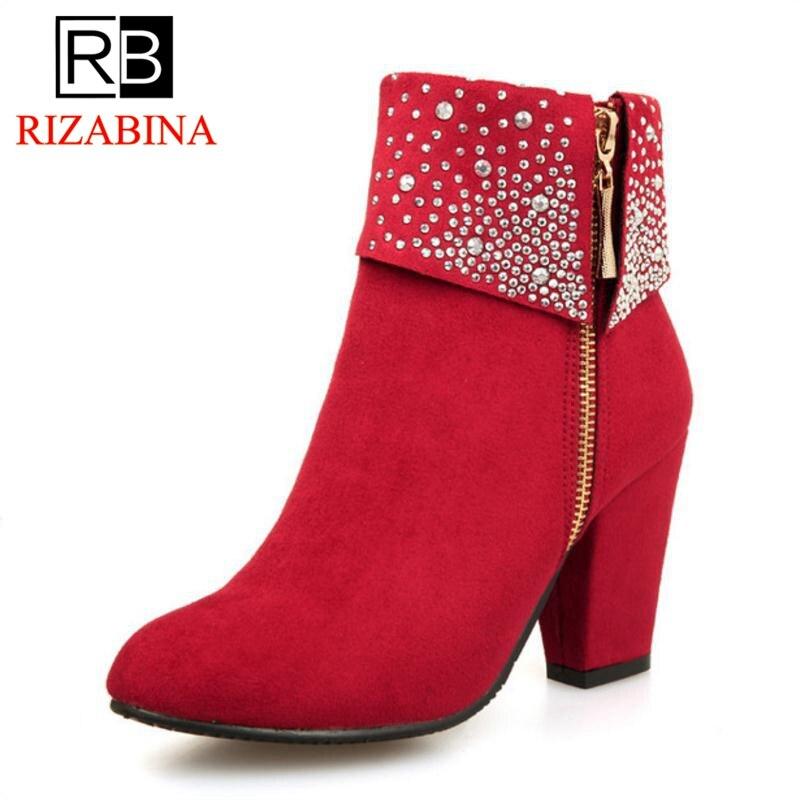 De 43 Talons Rouge Automne rouge Taille Bottes Pour Cristal Grande Hiver 32 Bleu Mode bleu Noir Cheville Femmes Épais Chaussures Hauts Rizabina Fp0fq