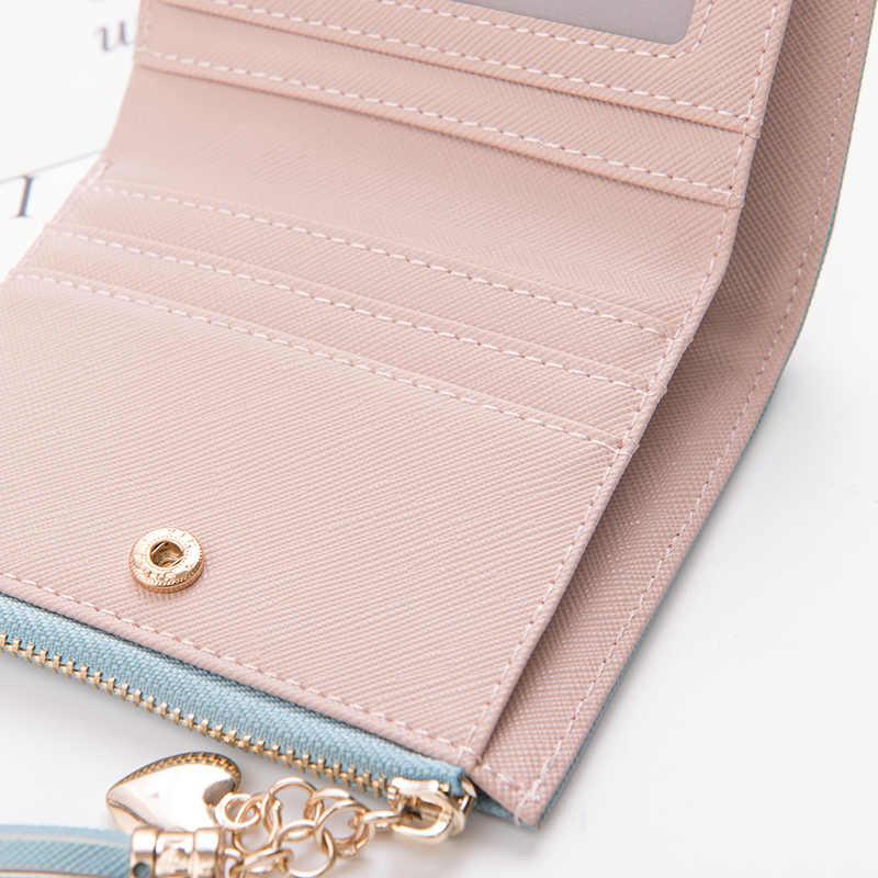 Kulit Kecil Dompet Wanita Mewah Merek Terkenal Mini Wanita Dompet Dompet Wanita Koin Pendek Zipper Dompet Pemegang Kartu Kredit