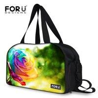 Famous Brand Rose Print Women Tote Travel Bags Organizer Duffle Bags Outdoor Waterproof Traveling Bag Free