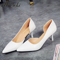 Ms. Noki women pumps shoes office career shoes white classic thin heel shoes pointed toe thin heels sandals 2016 fringe girls