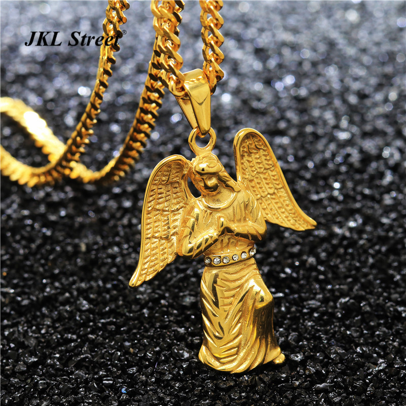 JKL Stainless Steel Blessed Virgin Mary Guardian Angel Pendant Jesus Piece Wing Charm Necklace HIPHOP Cool Gift NJF2205
