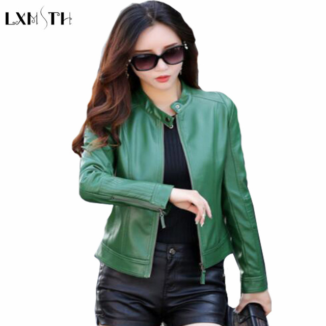 huge selection of 52496 c53db Donne giacca di Pelle LXMSTH Verde Zipper Moda Slim Moto Cappotto Corto  Signore Primavera giacche Faux Leather Cappotti Plus Size