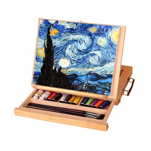 Image 1 - 1 pcs Wooden Drawer Painting Frame Folding Easel Watercolor Oil painting Frame Sketch Wooden Box Portable Art Supplies