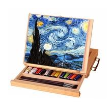 1 pcs עץ מגירת ציור מסגרת מתקפל כן ציור בצבעי מים ציור שמן מסגרת סקיצה עץ תיבת נייד אספקת אמנות