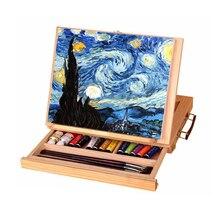 Moldura de madeira para pintura de gavetas, moldura dobrável para pintura a óleo, aquarela, caixa de madeira, materiais de arte portátil, 1 peça