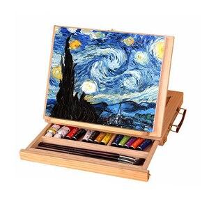 Image 1 - Moldura de madeira para pintura de gavetas, moldura dobrável para pintura a óleo, aquarela, caixa de madeira, materiais de arte portátil, 1 peça