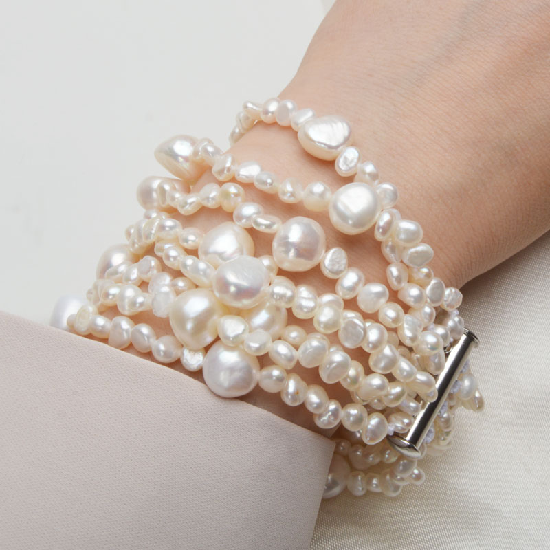 ASHIQI Multilayer Natural Freshwater Pearl Bracelet for women Gorgeous 8 Strand Bracelets 4 10mm Pearl Jewelry in Bracelets Bangles from Jewelry Accessories