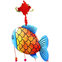 National Craft Chinese Knot Colored Drawing Wood Fish Car Hanging Decorations Eight Bells Beaded Wind Chimes Relaxing Windchime