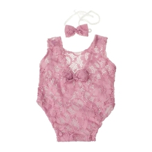 Child Images Props New child Ladies Outfit Backless Hole Bowknot Lace Romper