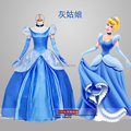 ladies adult womens bubble sleeve light blue sissi medieval dress cinderella dress cosplay princess costume fairy party/festival