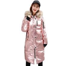 57e7eb662d4 Зимняя модная Серебристая пуховая куртка Женская парка уличная молния с  длинным рукавом Зимнее пальто женская теплая
