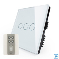 Hot Sale UK Remote Control Light Switch 220V White Crystal Glass Panel 3Gang1Way Remote Wall Livolo