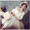 Verano 2016 las mujeres de Corea Fresca Pequeña Temperamento Delgado Vestido de Tirantes de Encaje Blanco Vestido de Encaje Calado Delgado Mostrar Thin Vestido