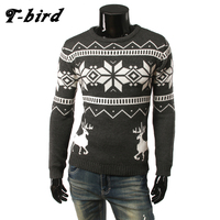 T Bird Brand Clothing Men 2017 Fashion Sweater Simple Fawn Print O Neck Slim Fit Casual