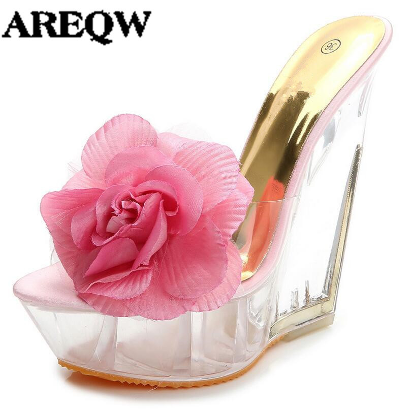 AREQW 2017 Summer high heeled slides slippers woman transparent crystal shoes woman wedges heel flowers high