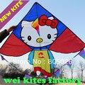 Nueva alta calidad del envío de hellokitty gato kites20pcs/lot con mango y la línea de control fácil volar más alto fábrica cometa