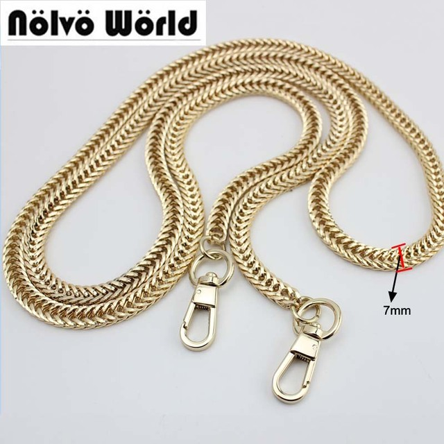 5pcs 3 Colors 7mm Wide 120cm Long Top Quality Metal Chains Shoulder Straps For Handbags Purses