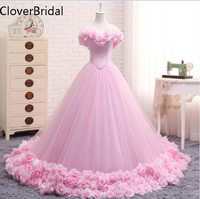 Pink Wedding Dress 2017 Ball Gowns Elegant Tulle Flowers Vestido De Novia Floor Length Long Train