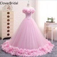 Pink Wedding Dress 2017 Ball Gowns Elegant Tulle Flowers Vestido De Novia Floor Length Long Train Trouwjurk Robe De Mariee