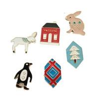 The original South Korea retro cute penguin rabbit house simple men and women micro cap coat Brooch set