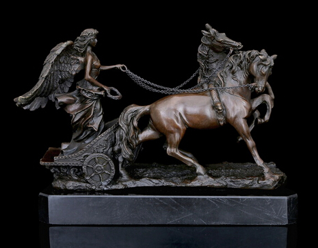 Copper Brass crafts Greek Mythology Sculpture Angel Horse statues Art Collection decoration House