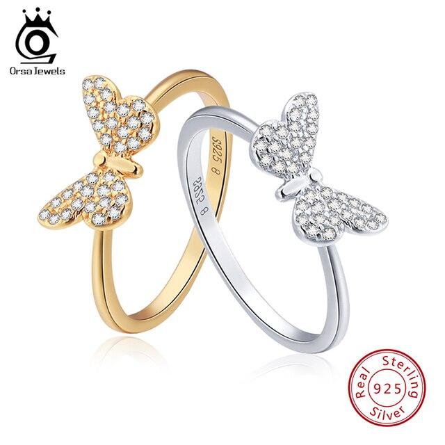 ORSA JEWELS натуральная 925 пробы серебряные женские кольца Милая бабочка серебро и золото цвет AAA кубический циркон модное кольцо ювелирные изде...