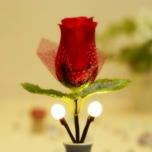 1 x Hot Fashion Red Rose LED Rose Night Light Lamp Home Decoration LED Wall Lamp VC466 P10