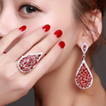 Wedding party 2017 Bridal jewelry sets with Red and clear cubic zirconia Rhodium plate Long Earrings and ring sets