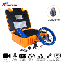 SYANSPAN 7DVR Well Pipe Inspection Video Camera,Drain Sewer Pipeline Industrial Endoscope with Audio Snapshot Keyboard IP68