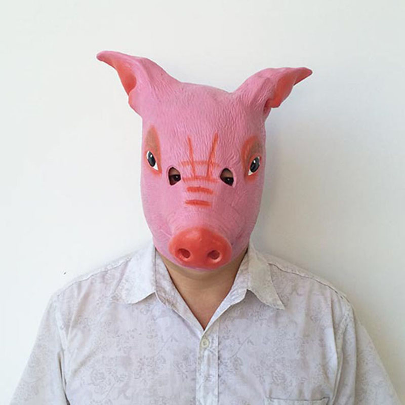Halloween Necessaries Halloween Mask Pink Pig Head Scary Mask Halloween Cosplay Costume Creepy Cry Full Head Face Latex Mask-in Party Masks from Home ... & Halloween Necessaries Halloween Mask Pink Pig Head Scary Mask ...