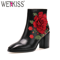 WETKISS 2018 Spring Elegant Ladies Ankle Boots 3D Embroider Solid Genuine Leather Shoes Women Zipper Square