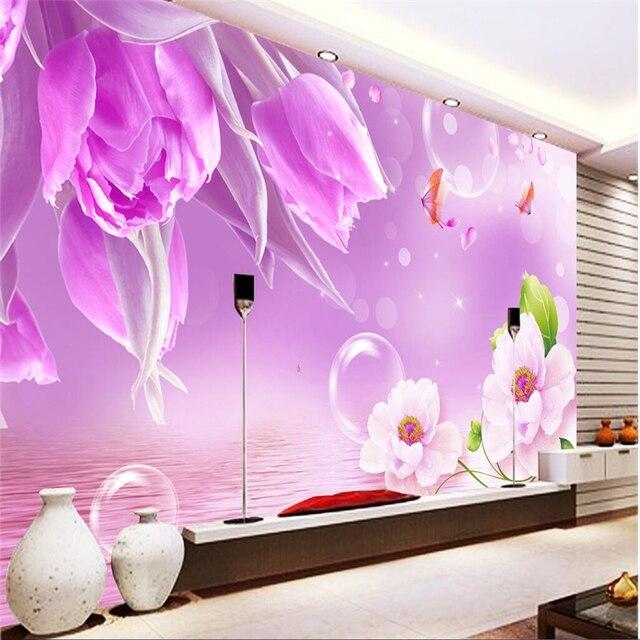 beibehang Custom photo wallpaper warm romantic flower bedroom living ...