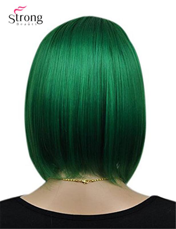 Women`s Cosplay Party Kanekalon Synthetic Fiber Short Straight Dark Green Bob Hair Full Wigs3