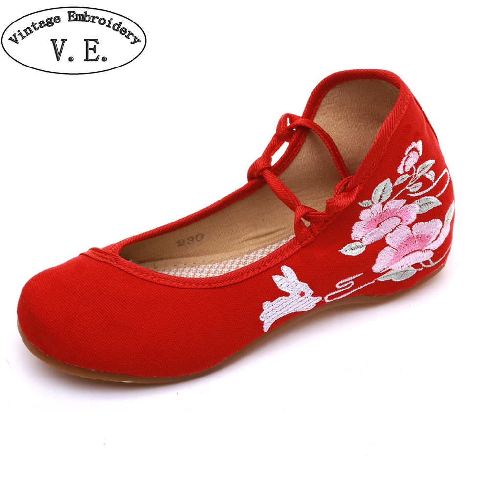 Vintage Chinese Old Peking Women Flats Rabbit Embroidered Lace Up Dance Ballet Shoes For Lady Soft Canvas Shoes Size 34 To 43 vintage women shoes 2017 spring new canvas embroidered women s canvas cloth shoes tendon bottom size 34 41