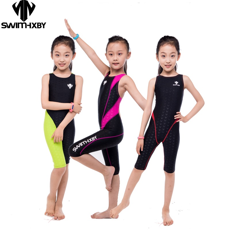 HXBY Professional Competition Kids Swimsuit For Girls Swimwear Women One Piece Bathing Suit Women's Swimsuits Swimming Suit hxby professional men women one piece full swimming suit competition racing triathlon suit sharkskin bathing suits free shipping