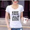 2017 Summer Keep Calm Jesus Is Coming Soon Funny Printed T-Shirt For Men Ladies T Shirts Round Neck Slim Top Tees Short Sleeve