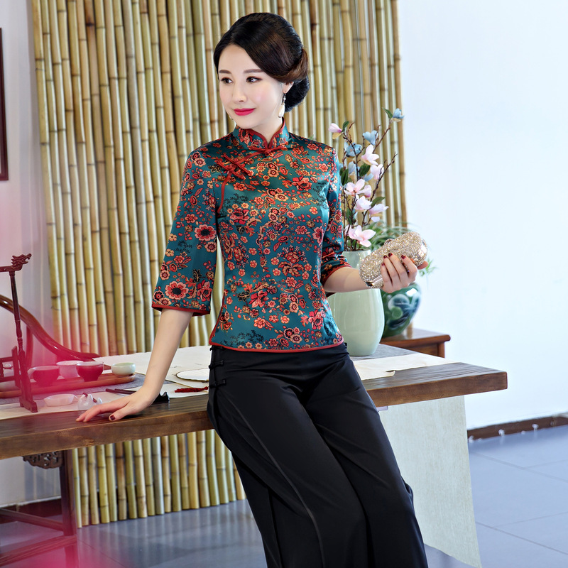 Oversized XXXL Female Print Floral Clothes Vintage Tang Tops Mandarin Collar Business Shirt Rayon Chinese Style Women Blouse
