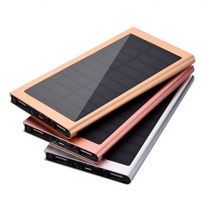 imágenes para 10000 mah ultra-delgado matal solar power bank cargador de batería externa dual del usb para iphone ipad tablet
