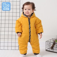 Autumn and winter newborn clothes baby hooded jumpsuit baby thickening clothes