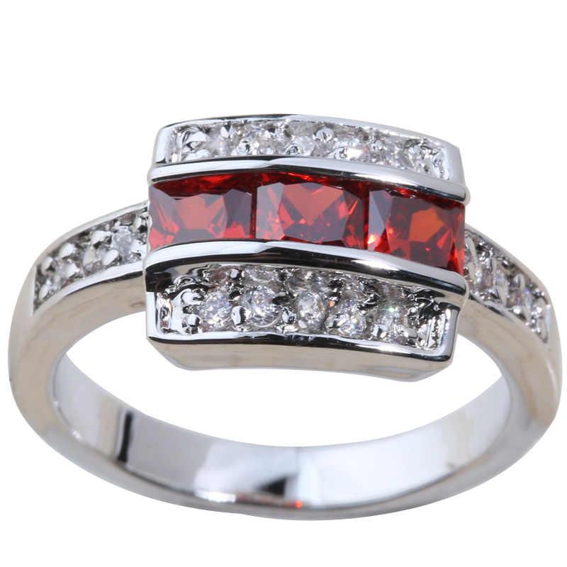 สีแดงโกเมนสีเขียว Olive Peridot 925 แหวนเงินขนาด 6/7/8/9 S0337 S0338 S0340 s0396