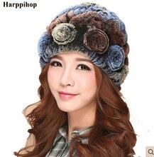 brand Russian Winter knitted fur womens hat natural rabbit hats