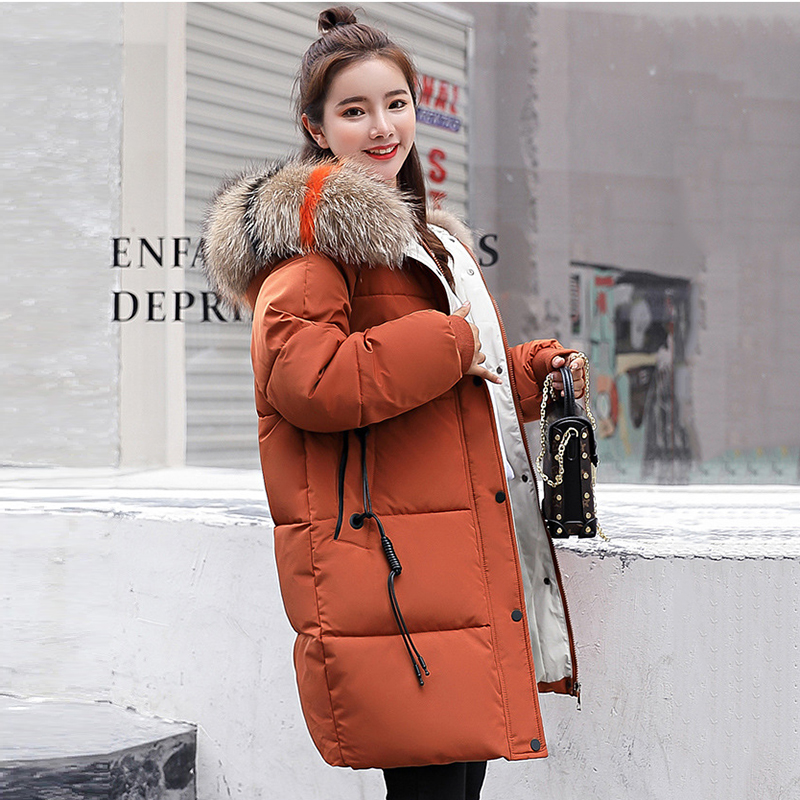 Street wear plus size loose puffer jacket Winter long jacket Women Snow wear fashion thicken   parkas   female warm coat overcoat