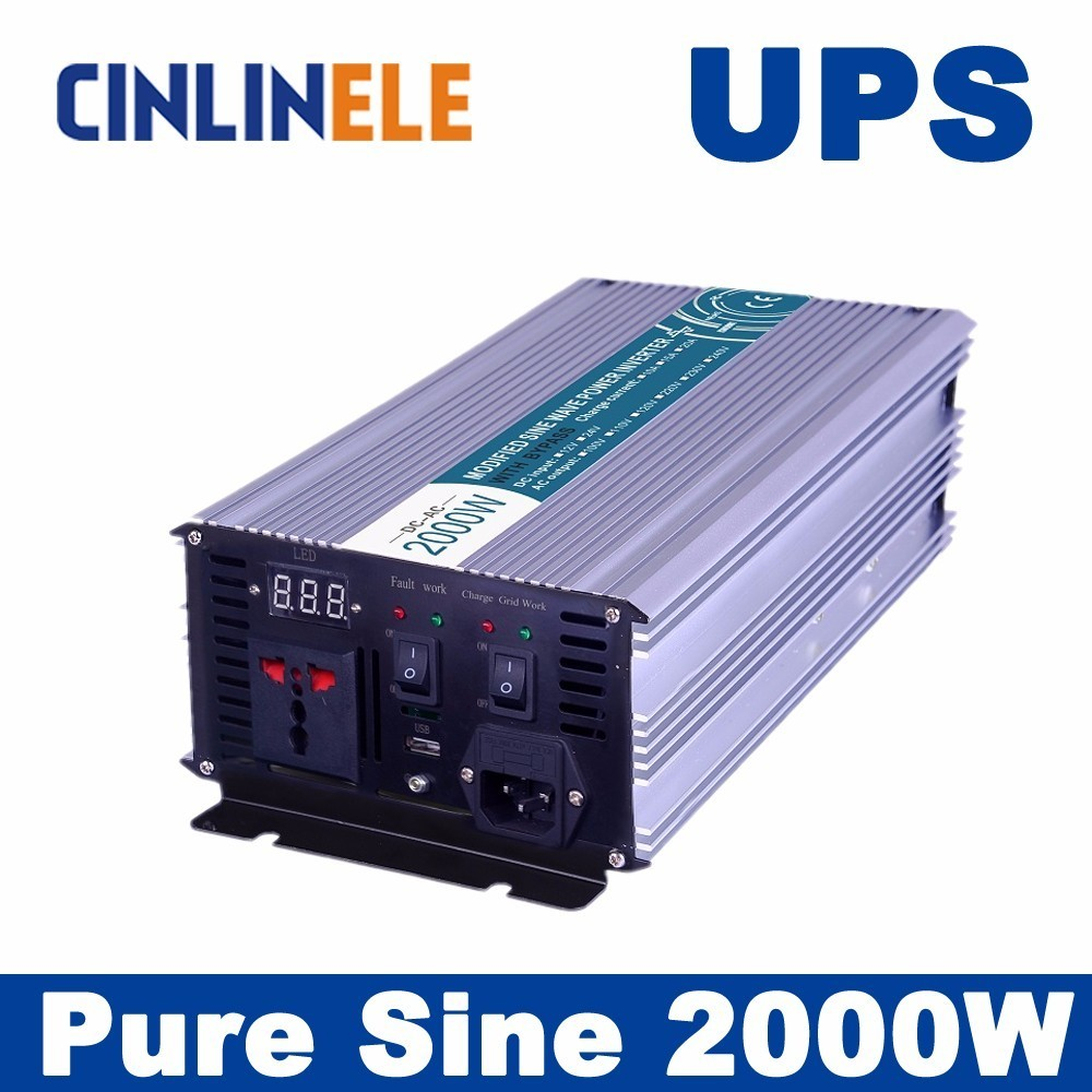 Universal inverter UPS + Charger 2000W Pure Sine Wave Inverter CLP2000A DC 12V 24V 48V to AC 110V 220V 2000W Surge Power 4000W