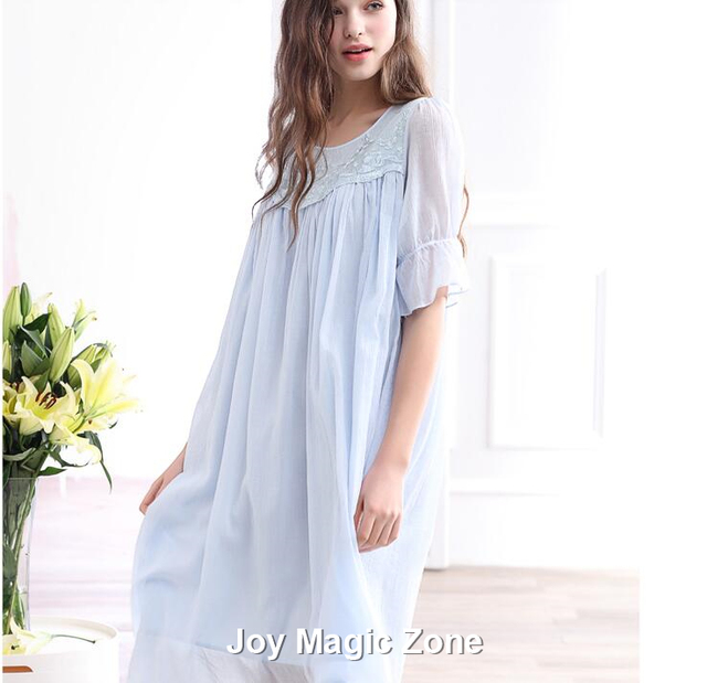 yomrzl L950 new arrival summer cotton women's nightgown one piece princess sleep dress short sleeve o-neck sleepwear