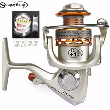 Sougayilang Fishing Line With Left/Right Handle Metal Spool 12+1BB  Reel Fishing Carp Fishing Spinning Reel Saltwater Peche Coil
