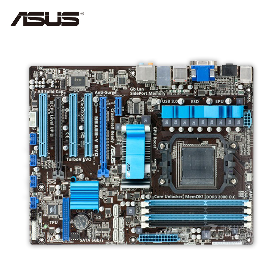 Asus M5A88-V EVO Desktop Motherboard 880G Socket AM3+ DDR3 SATA3 USB3.0 ATX Second-hand High Quality asus p5qpl am в киеве