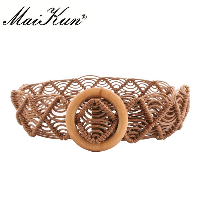 New Hollow Woven Belts for Women Belt Bohemia Style Braided Luxury Belt Designer Brand Elastic Female Waist Decoration Corset