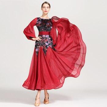 Vestido de baile de salón profesional clásico para mujeres con estampado de terciopelo estándar vals Tango competición vestidos de baile DL3359