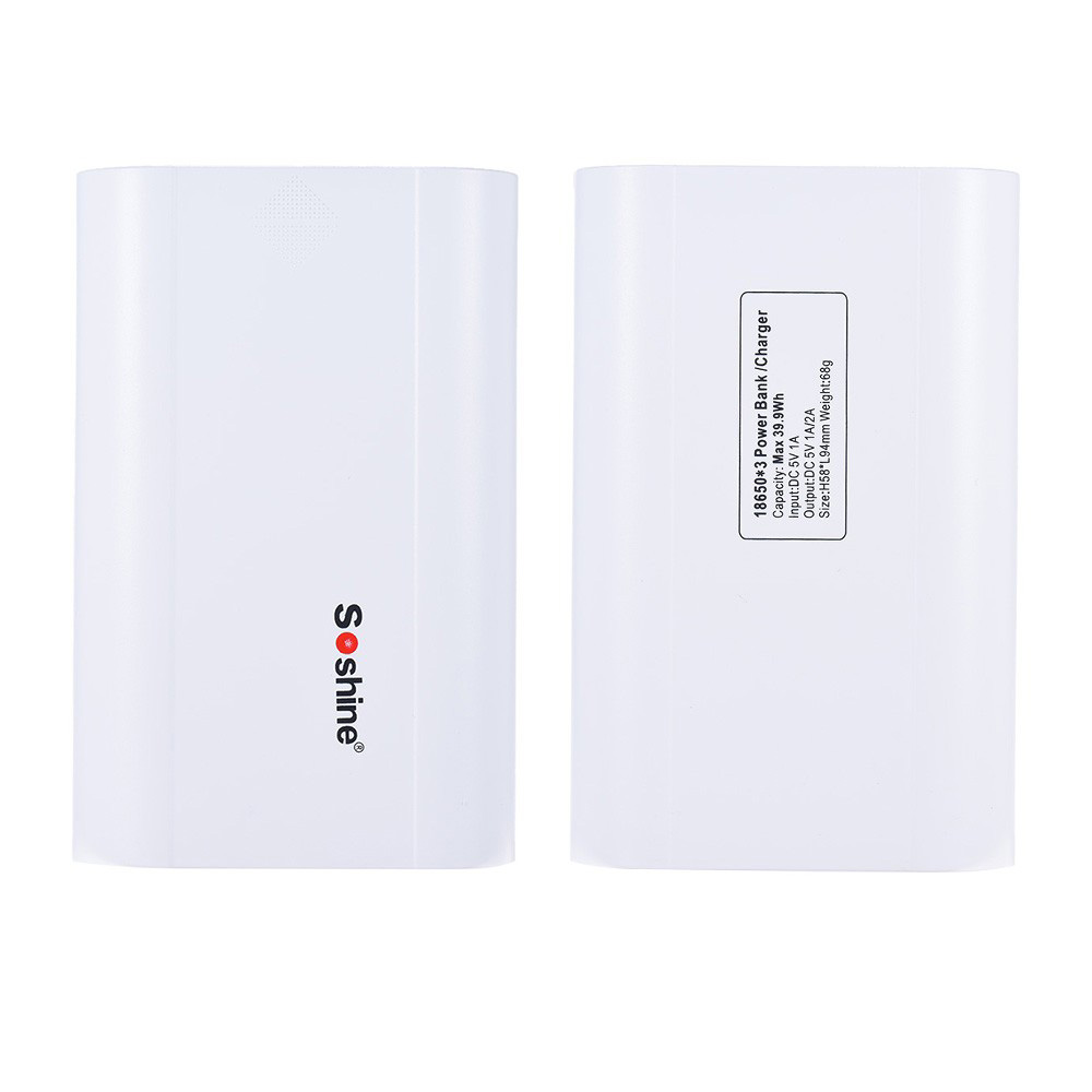 Soshine E5 External Battery Charger Box diy mobile phone power bank with lcd screen for 18650 Lithium ion White